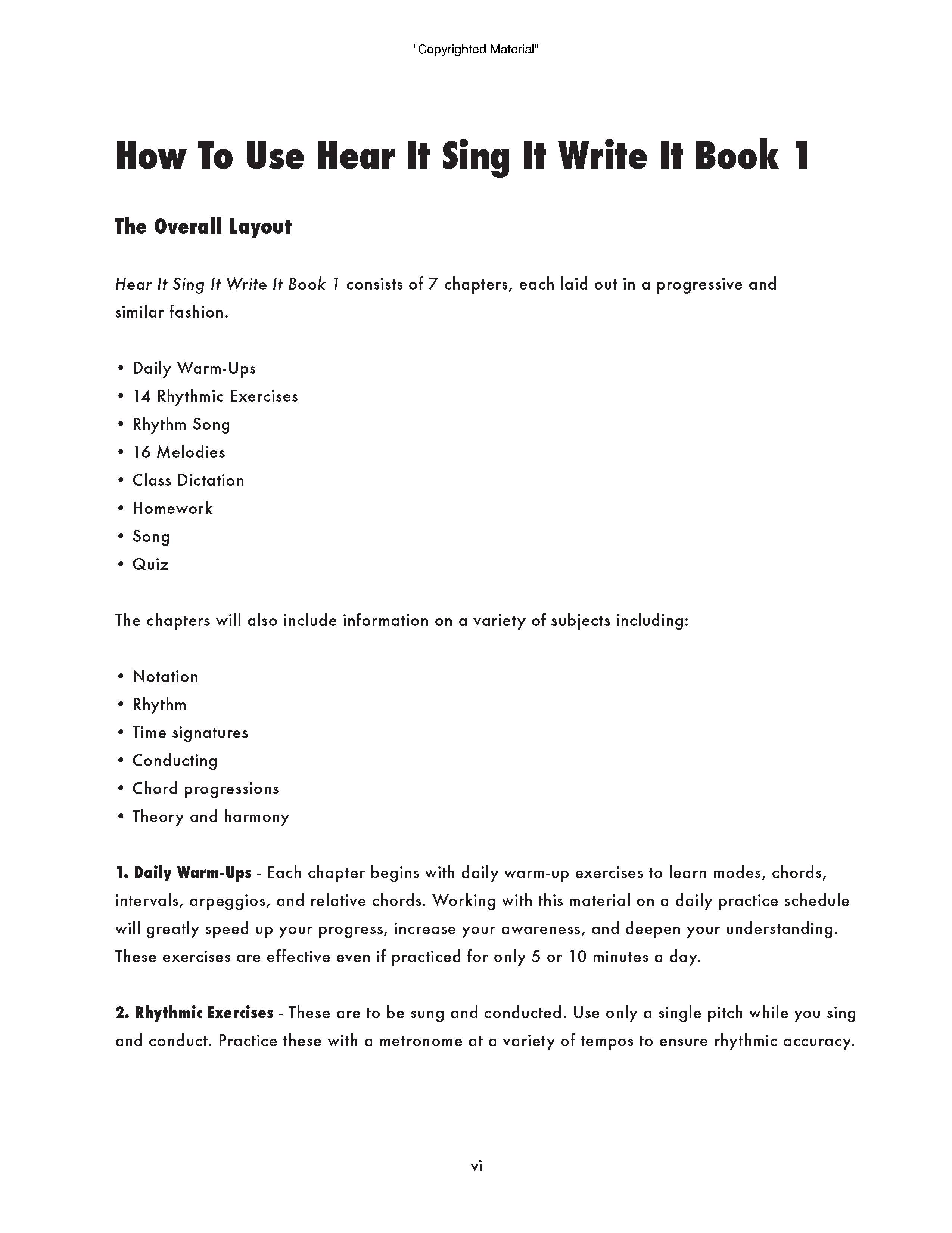 Hear it sing it write it page vi how to use this book hexwebz Images